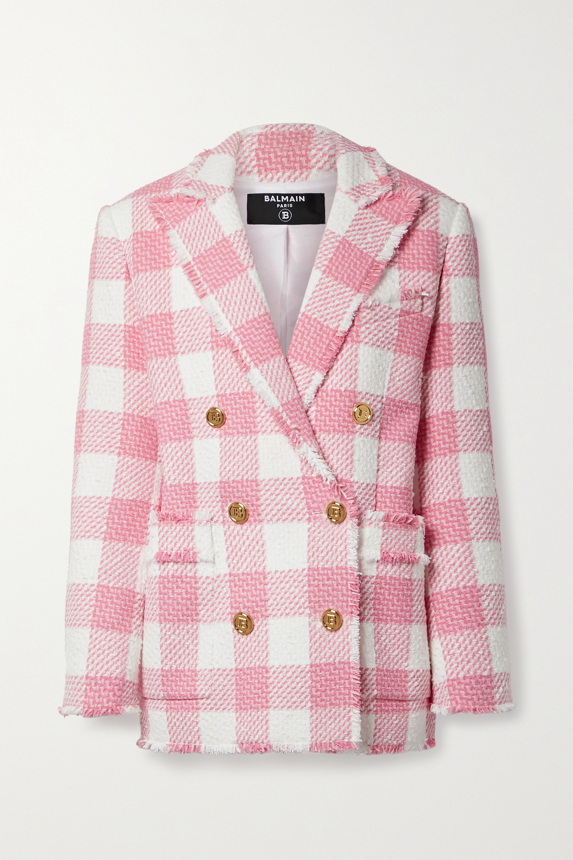 Balmain Double-breasted fringed gingham cotton-blend tweed blazer