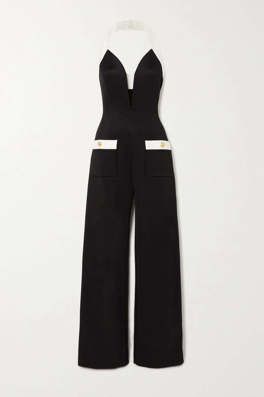 Balmain Zweifarbiger Neckholder-Jumpsuit aus Stretch-Jersey