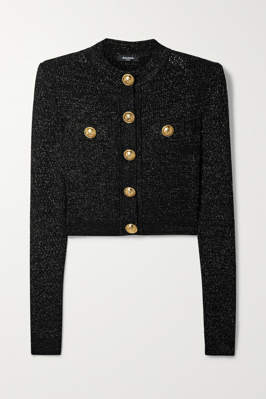 Balmain Button-embellished metallic jacquard-knit cardigan