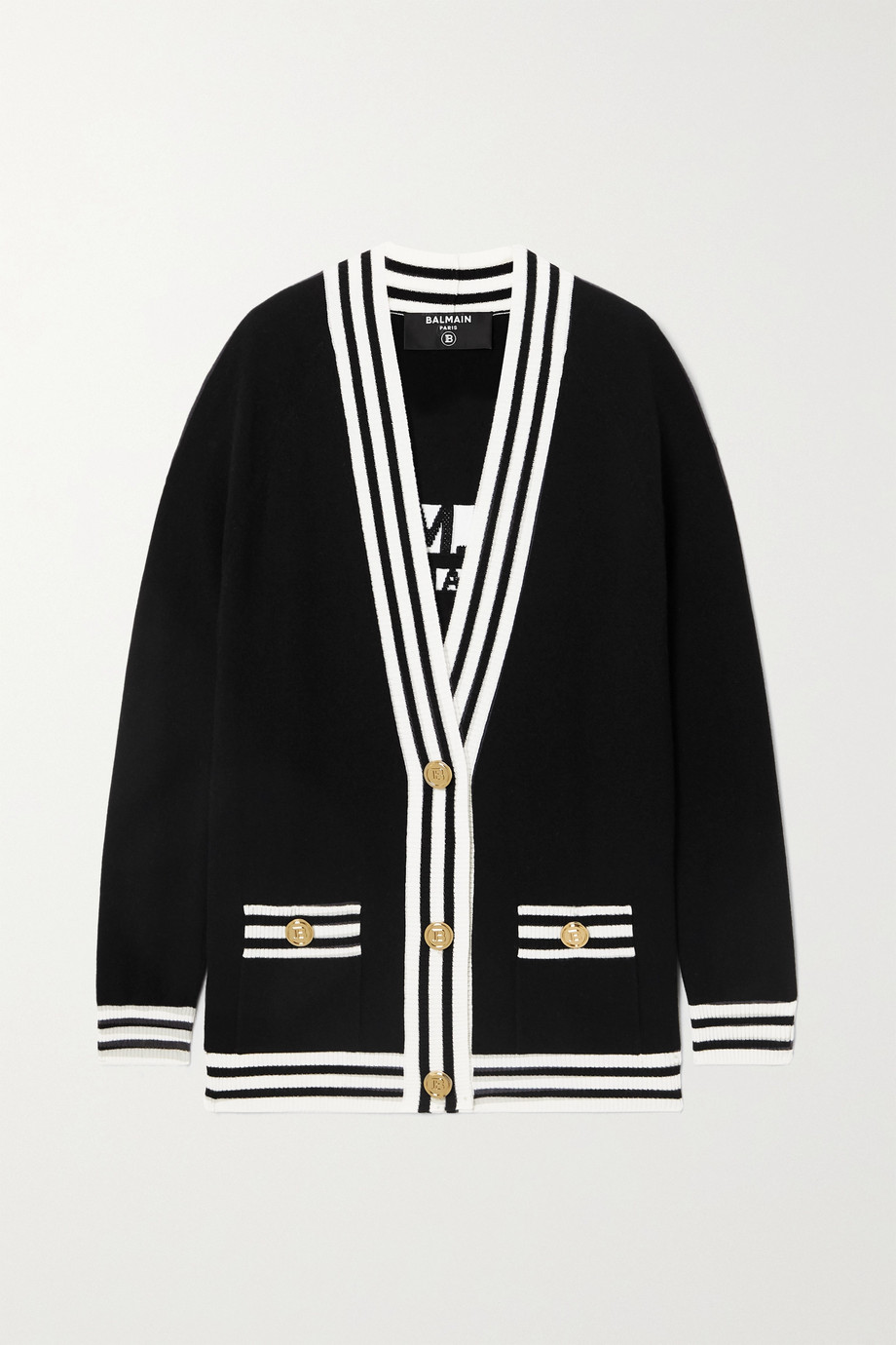 Balmain Two-tone intarsia wool-blend cardigan