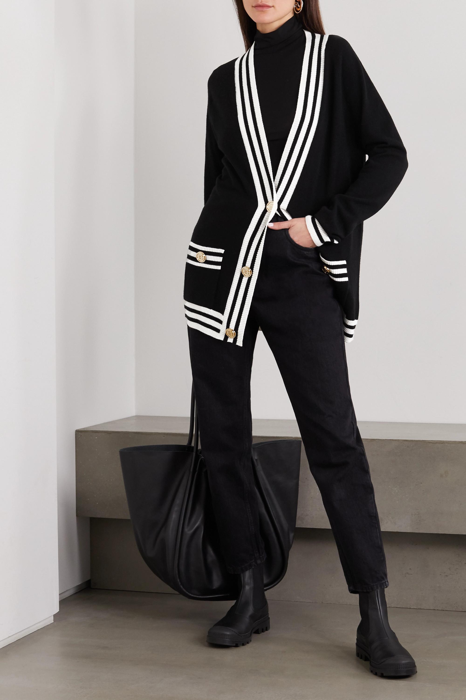 Balmain Zweifarbiger Cardigan aus einer Wollmischung mit Intarsienmuster