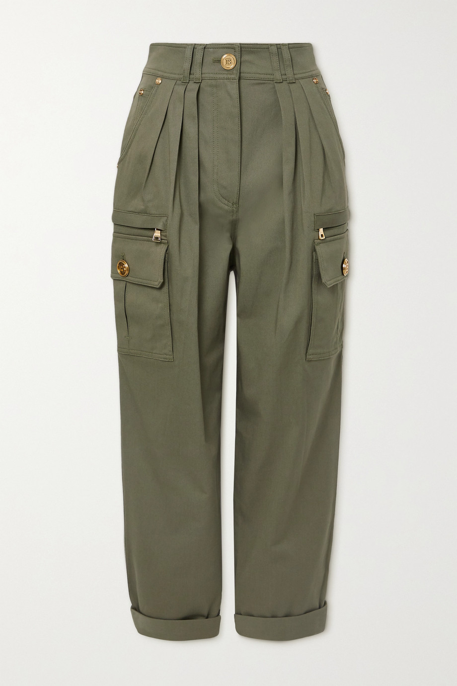 Balmain Pleated cotton-blend twill cargo pants