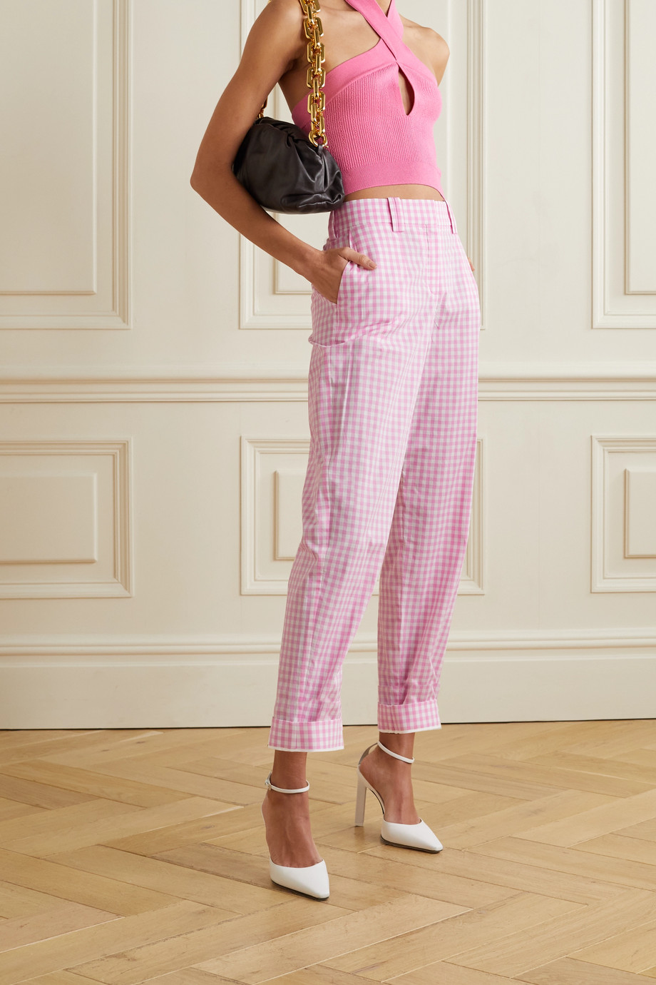 Balmain Gingham cotton straight-leg pants