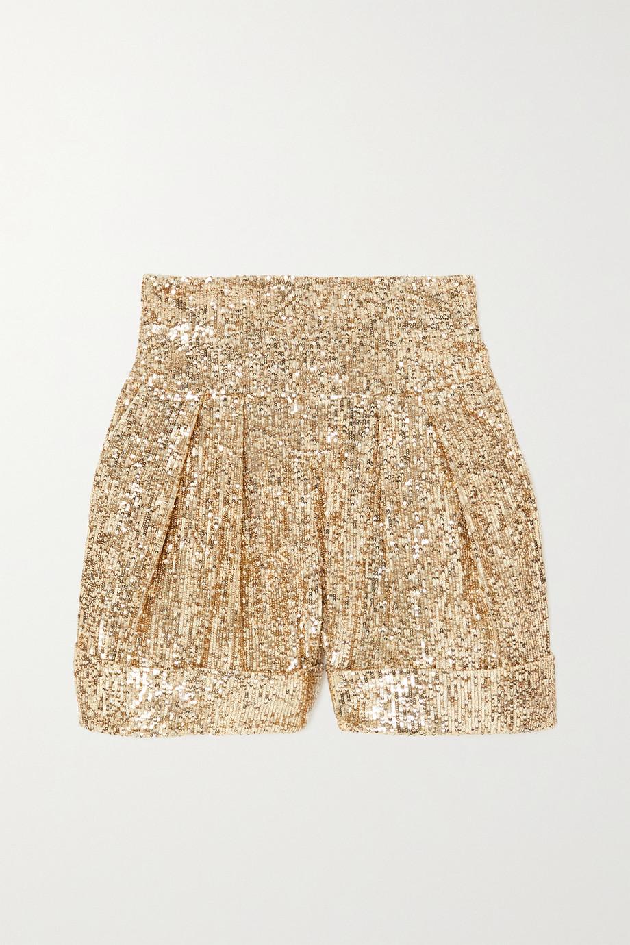Balmain Shorts aus Crêpe mit Pailletten und Falten