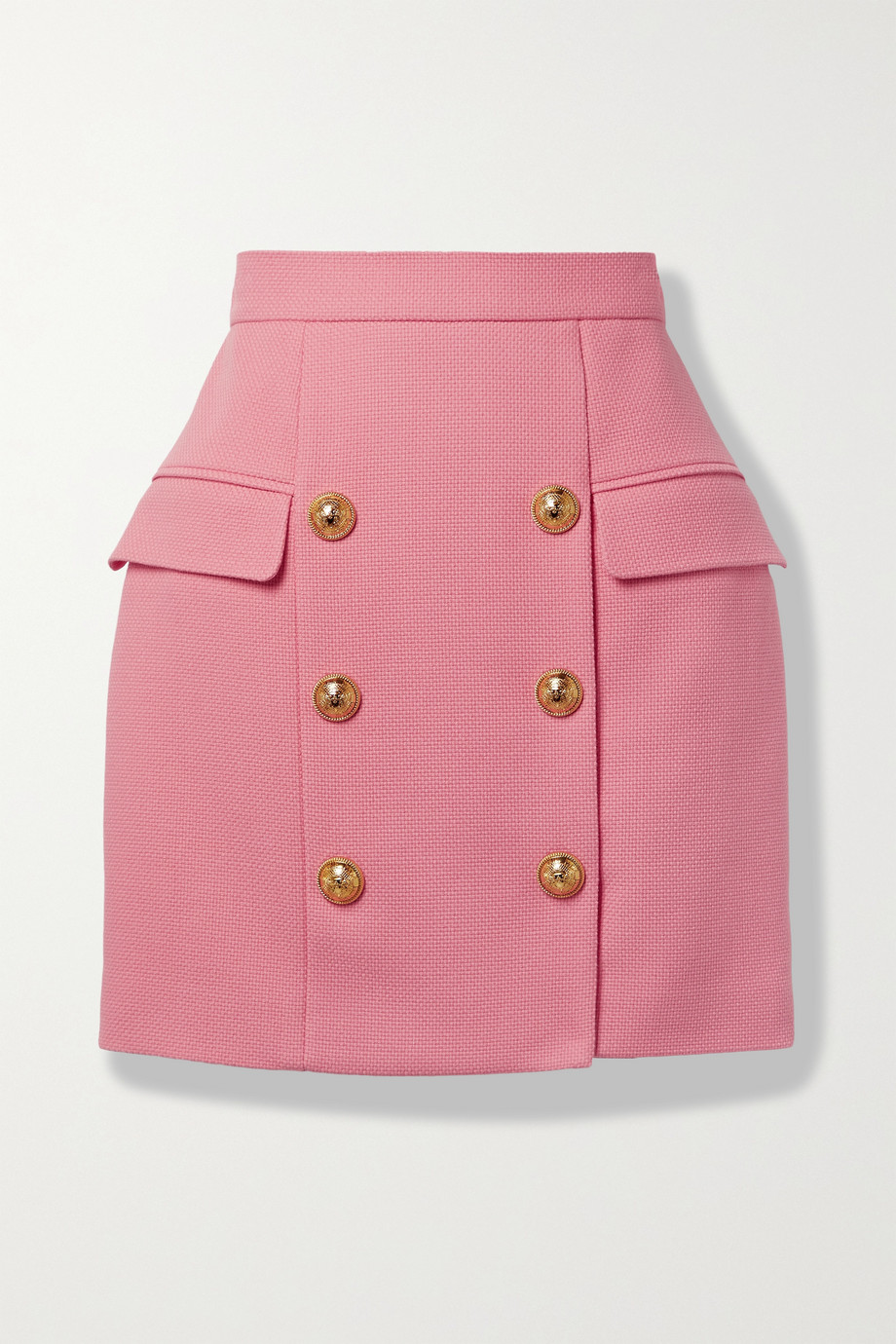 Balmain Button-embellished cotton-piqué mini skirt