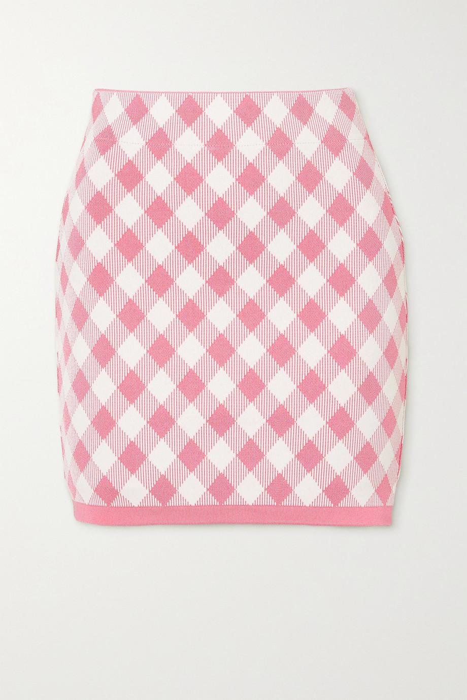 Balmain Gingham jacquard-knit mini skirt