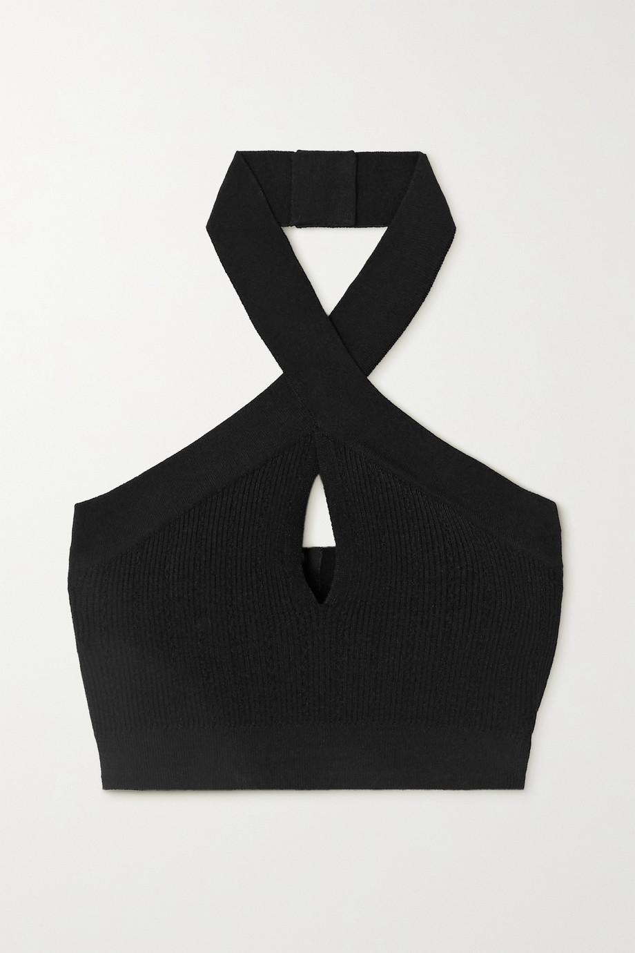 Balmain Cropped cutout ribbed-knit halterneck top