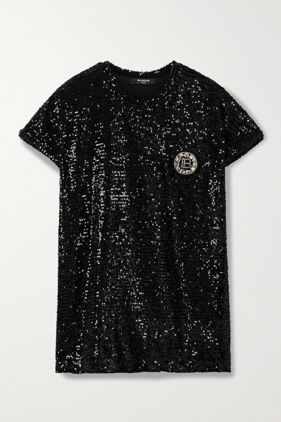 Balmain Embellished sequined jersey T-shirt