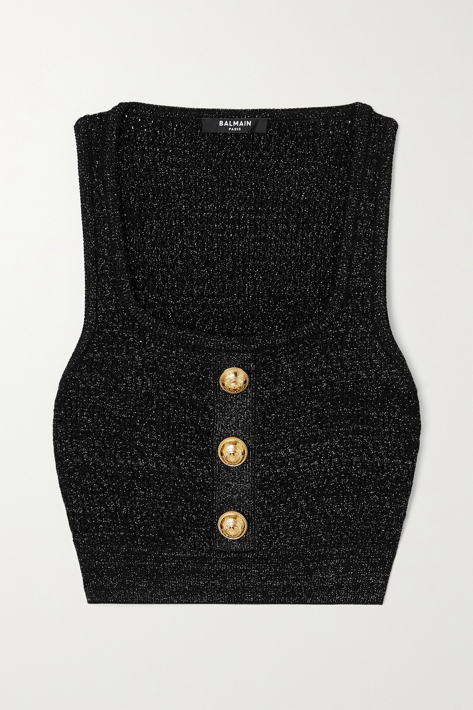 Balmain Cropped button-embellished metallic ribbed-knit top