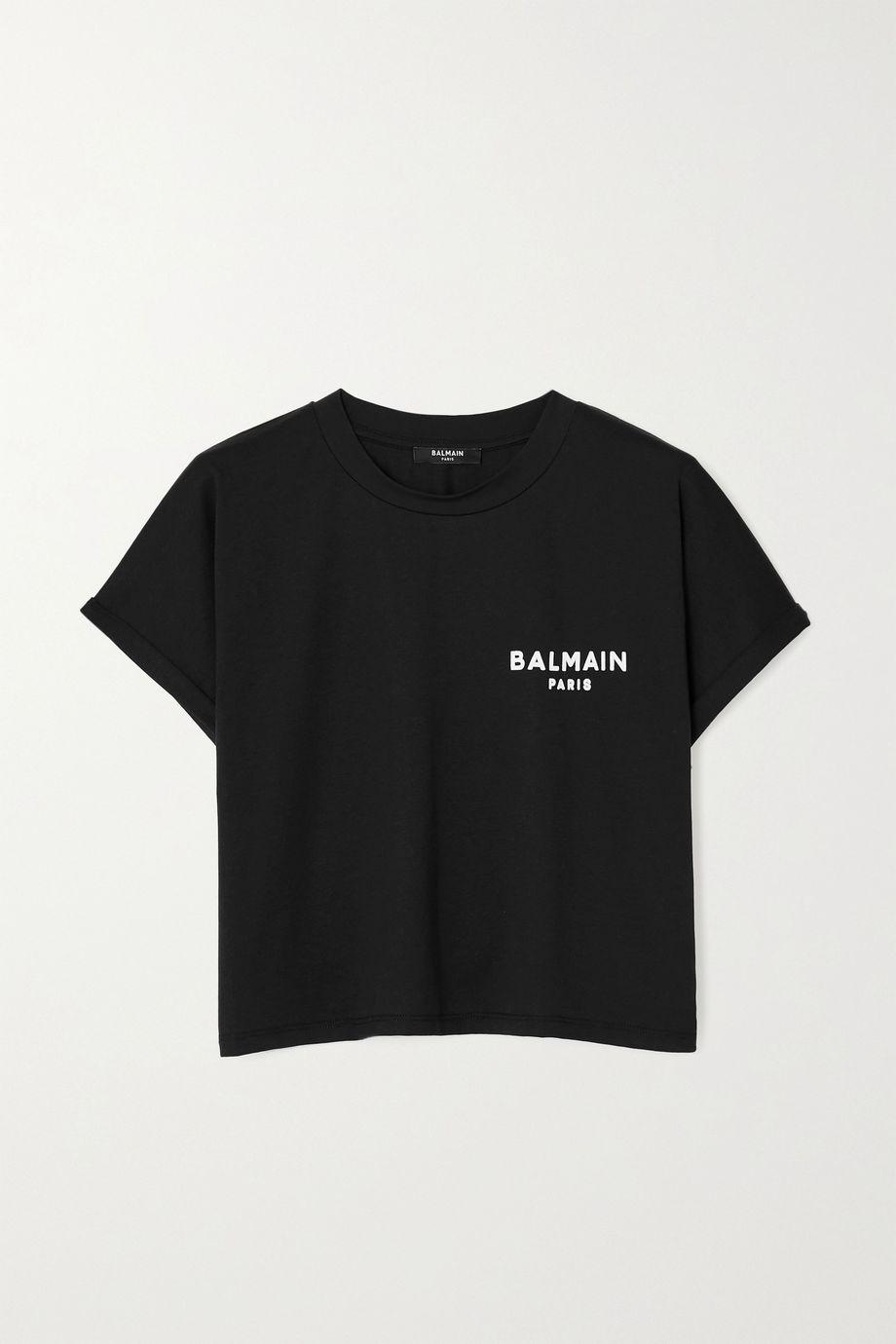 Balmain Verkürztes T-Shirt aus Baumwoll-Jersey mit Flockdruck