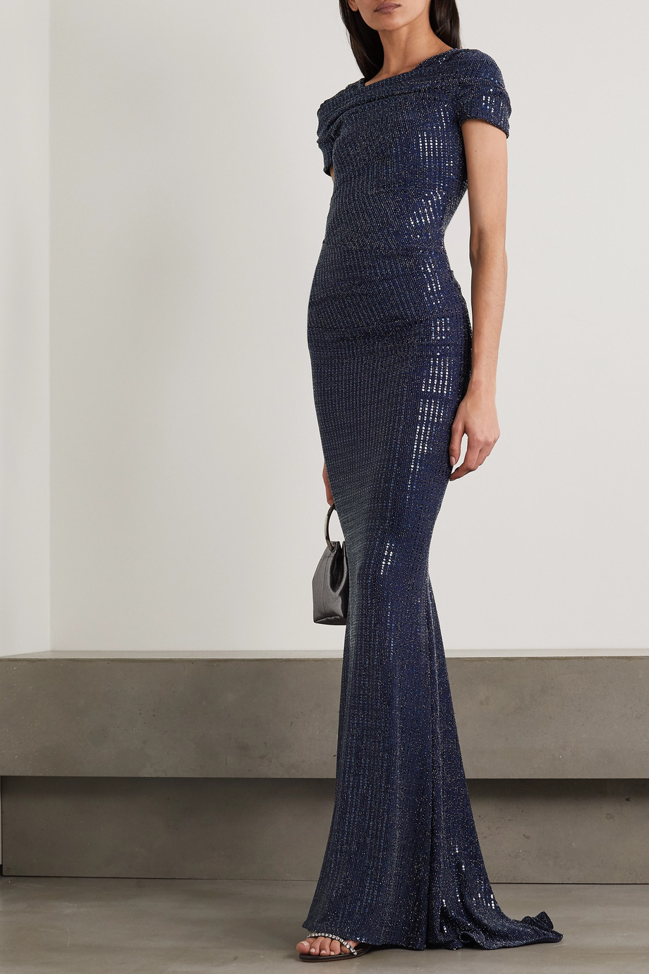 Talbot Runhof Gathered sequined metallic stretch-crepe gown