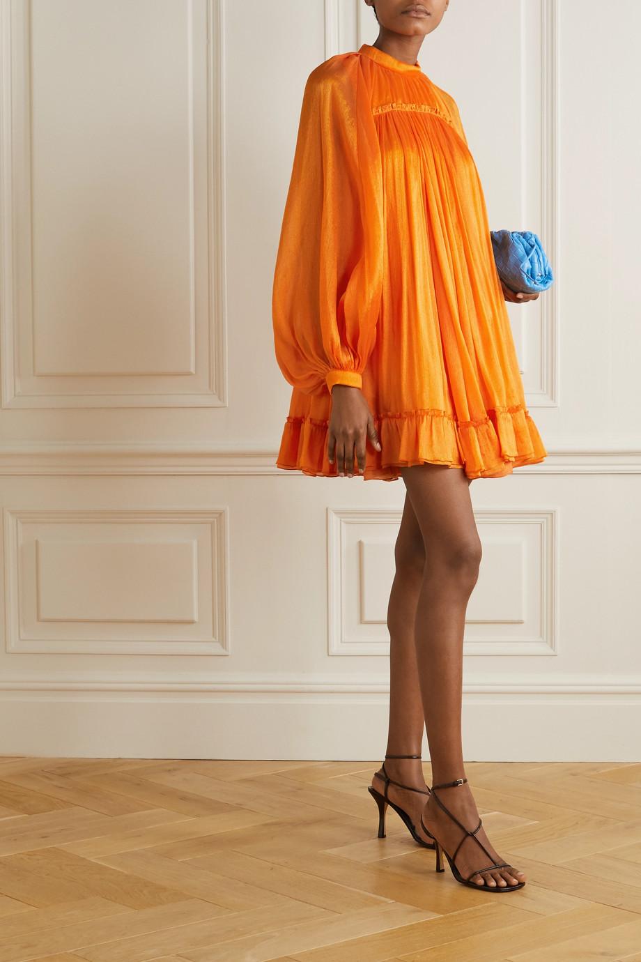 Carolina Herrera Cutout crinkled silk crepe de chine mini dress