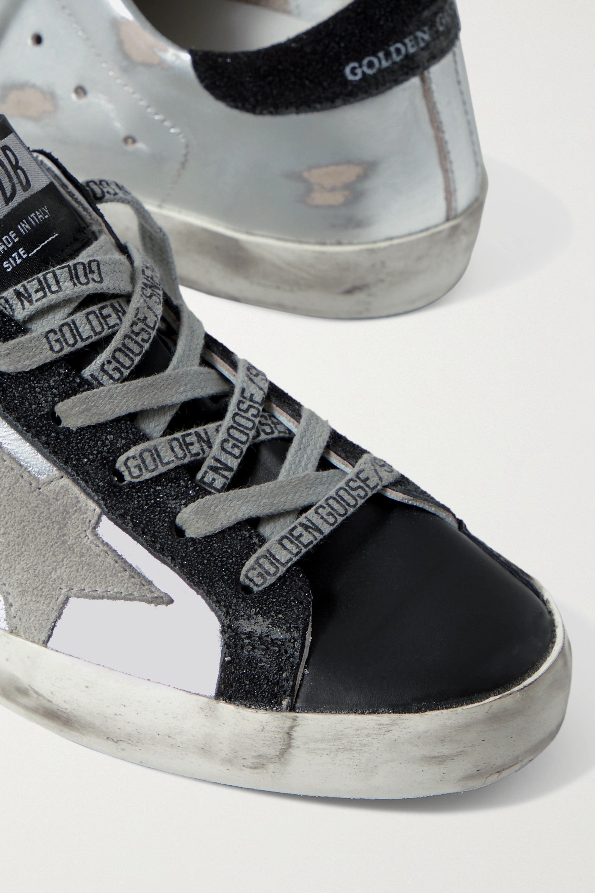 Golden Goose Superstar metallic distressed leather and suede sneakers