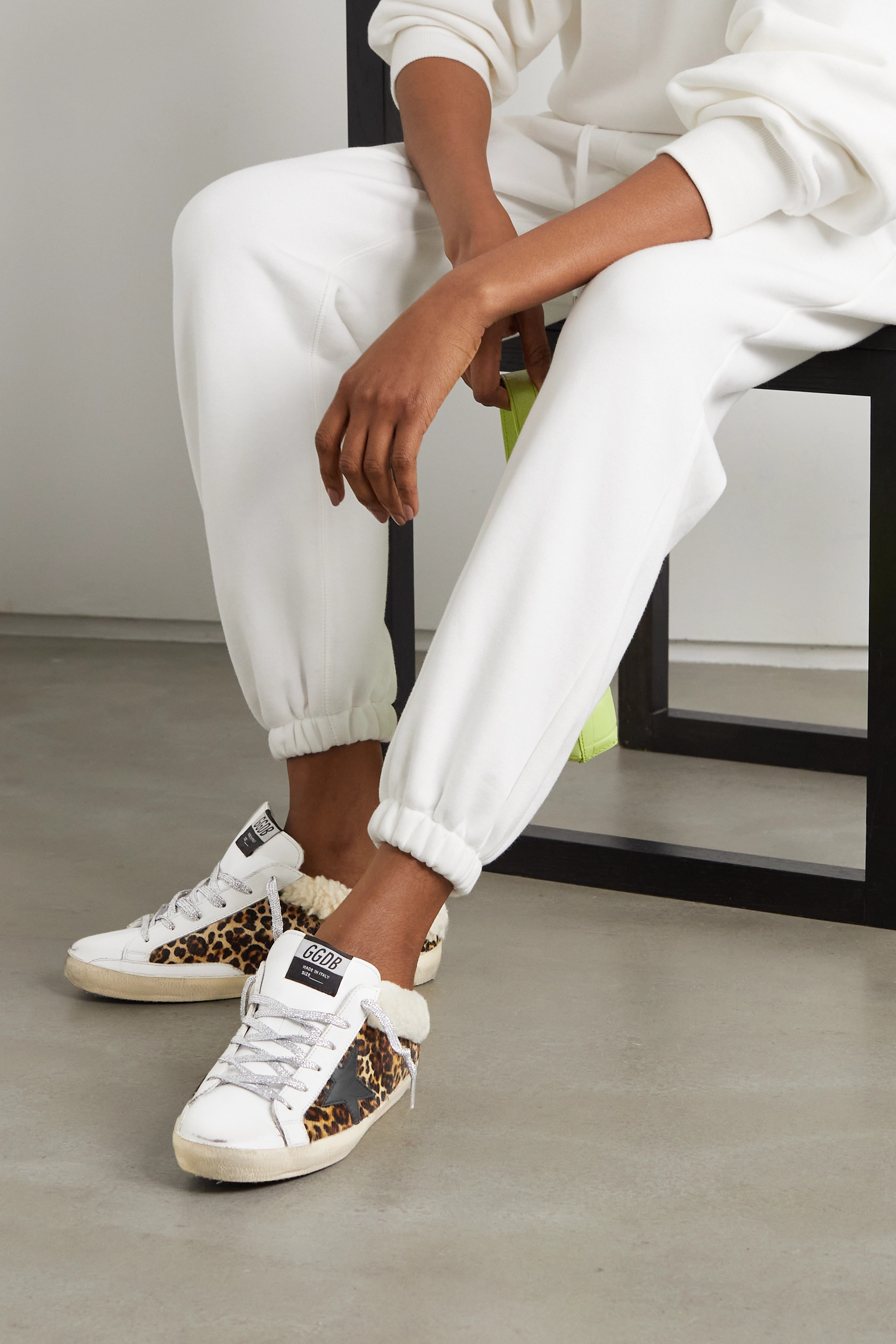 Golden Goose Sabot distressed leopard-print calf hair, leather and shearling slip-on sneakers