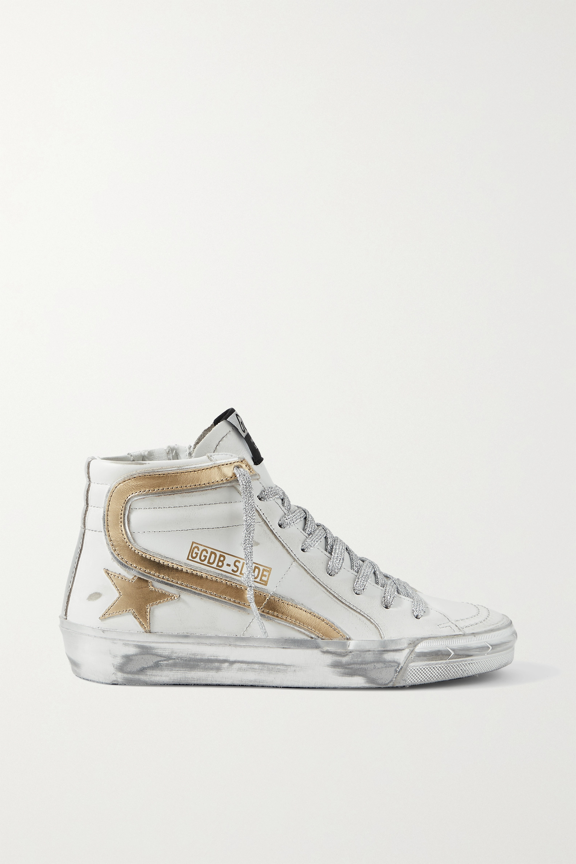 Golden Goose Slide metallic distressed leather high-top sneakers