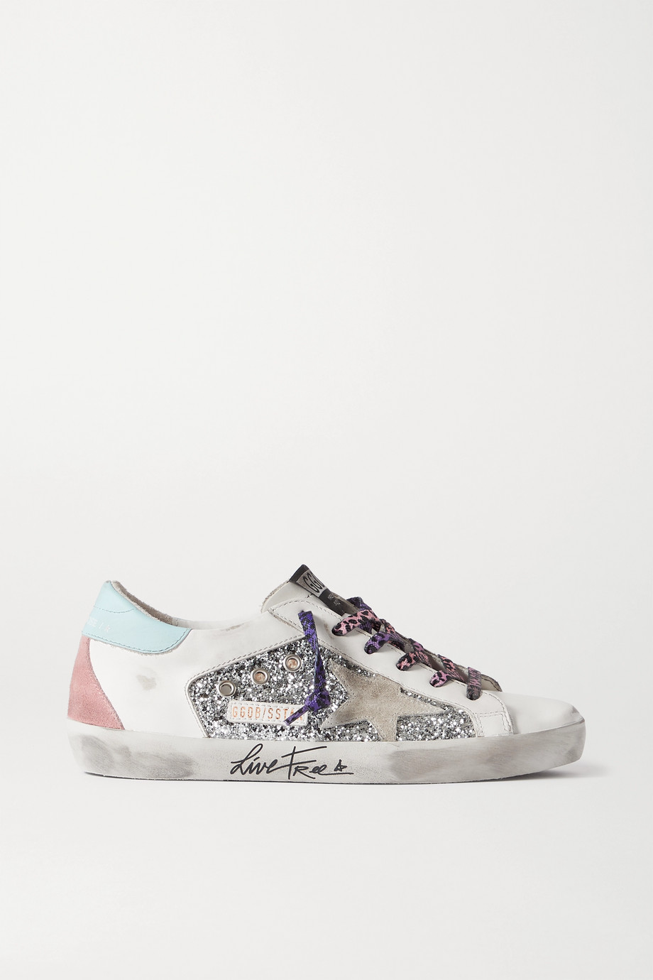 Golden Goose Superstar distressed glittered leather and suede sneakers