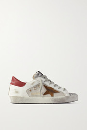 Golden Goose Superstar glittered distressed leather, suede and canvas sneakers