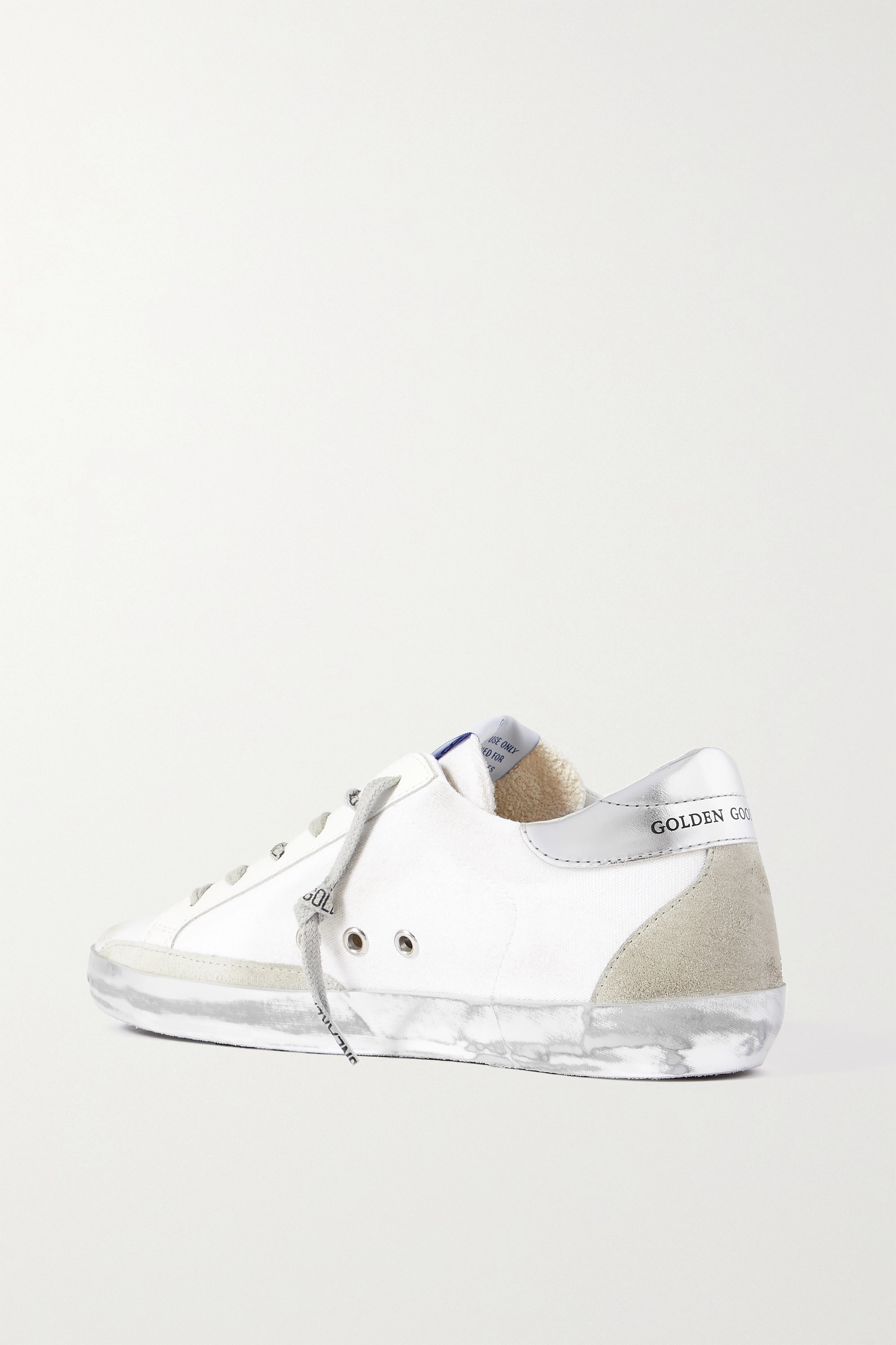 Golden Goose Superstar distressed suede and leather-trimmed canvas sneakers