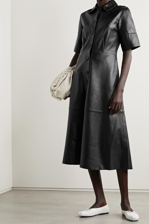 Co Paneled leather shirt dress