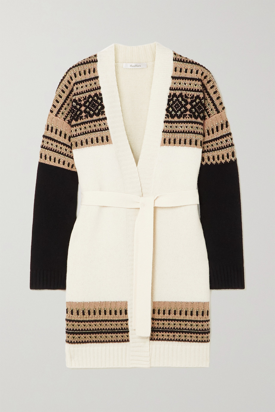 Max Mara Buona belted Fair Isle wool and cashmere-blend cardigan