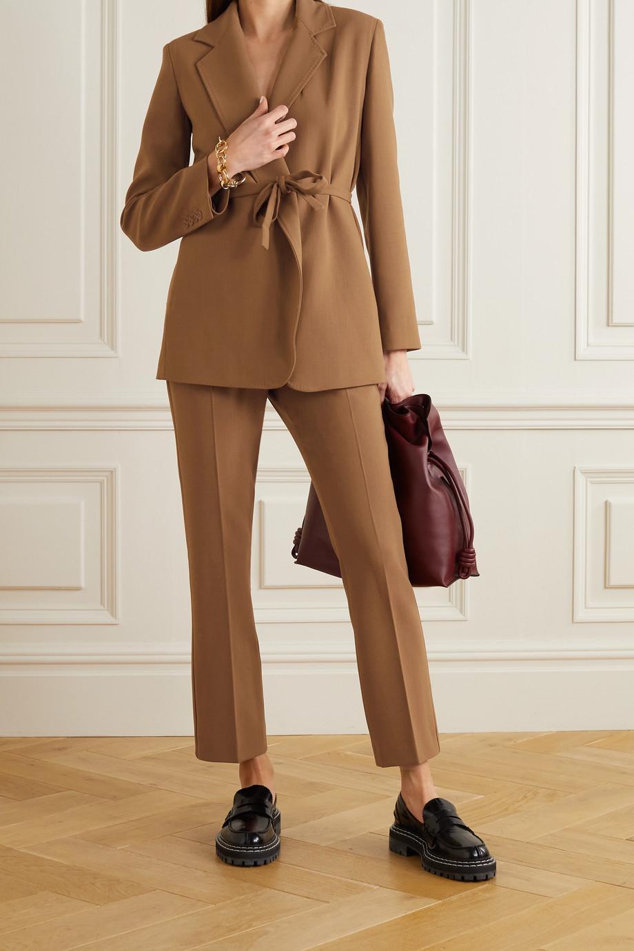 Max Mara Squaw belted wool-blend crepe blazer