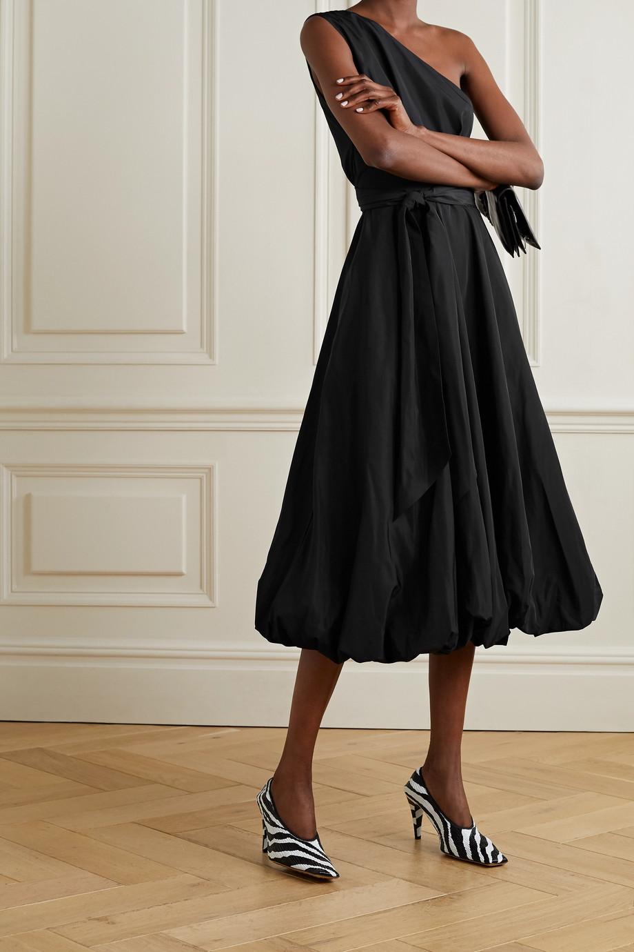 Tibi One-shoulder belted taffeta midi dress