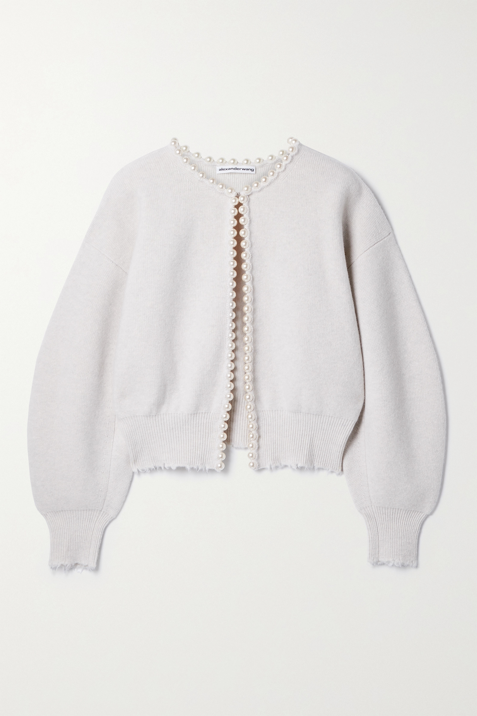 Alexander Wang Faux pearl-embellished distressed wool-blend cardigan