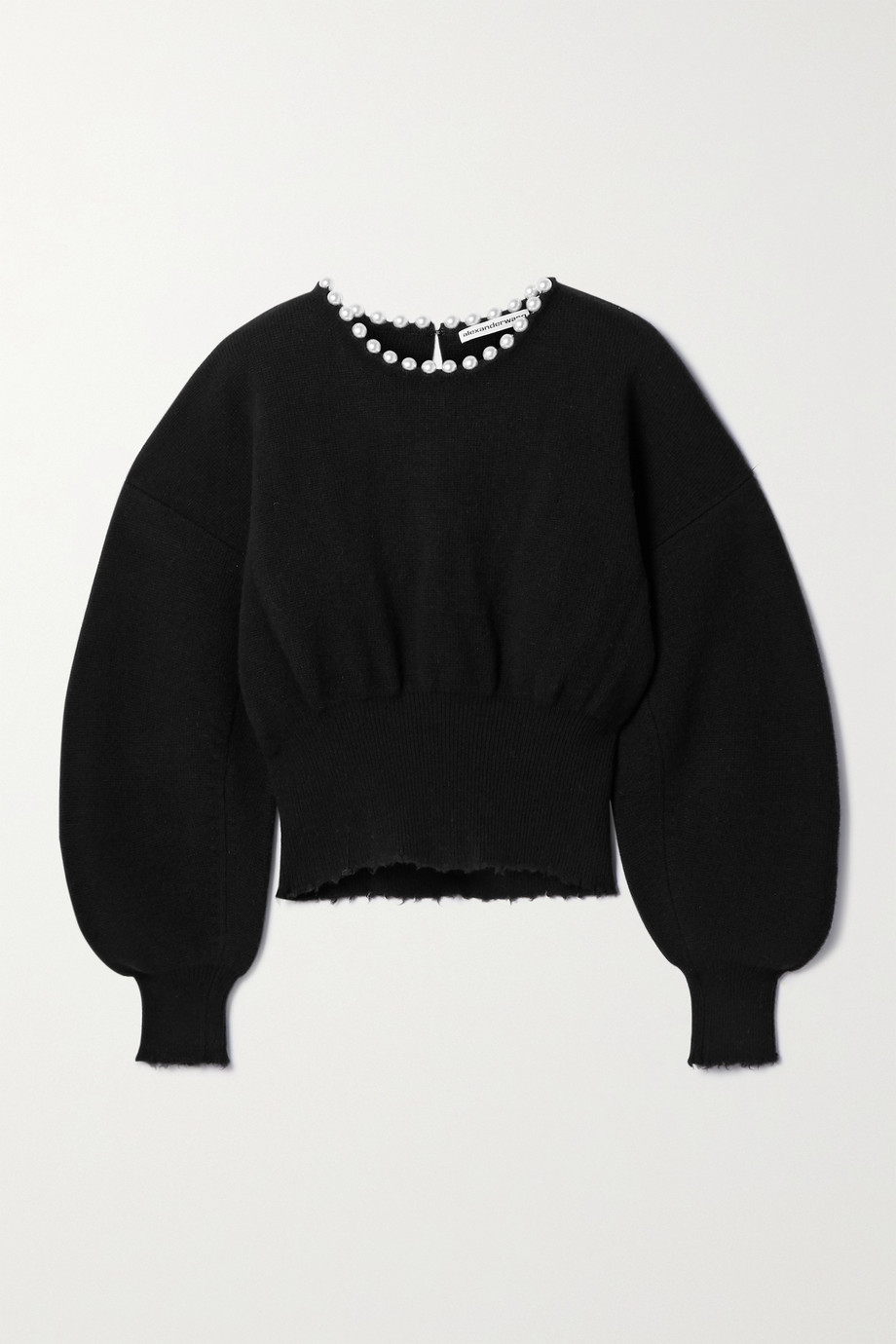 Alexander Wang Faux pearl-embellished distressed wool-blend sweater