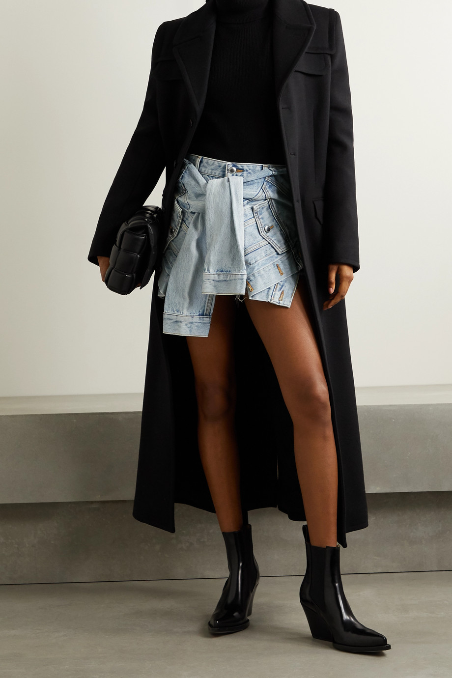 Alexander Wang Tie-front layered frayed denim shorts