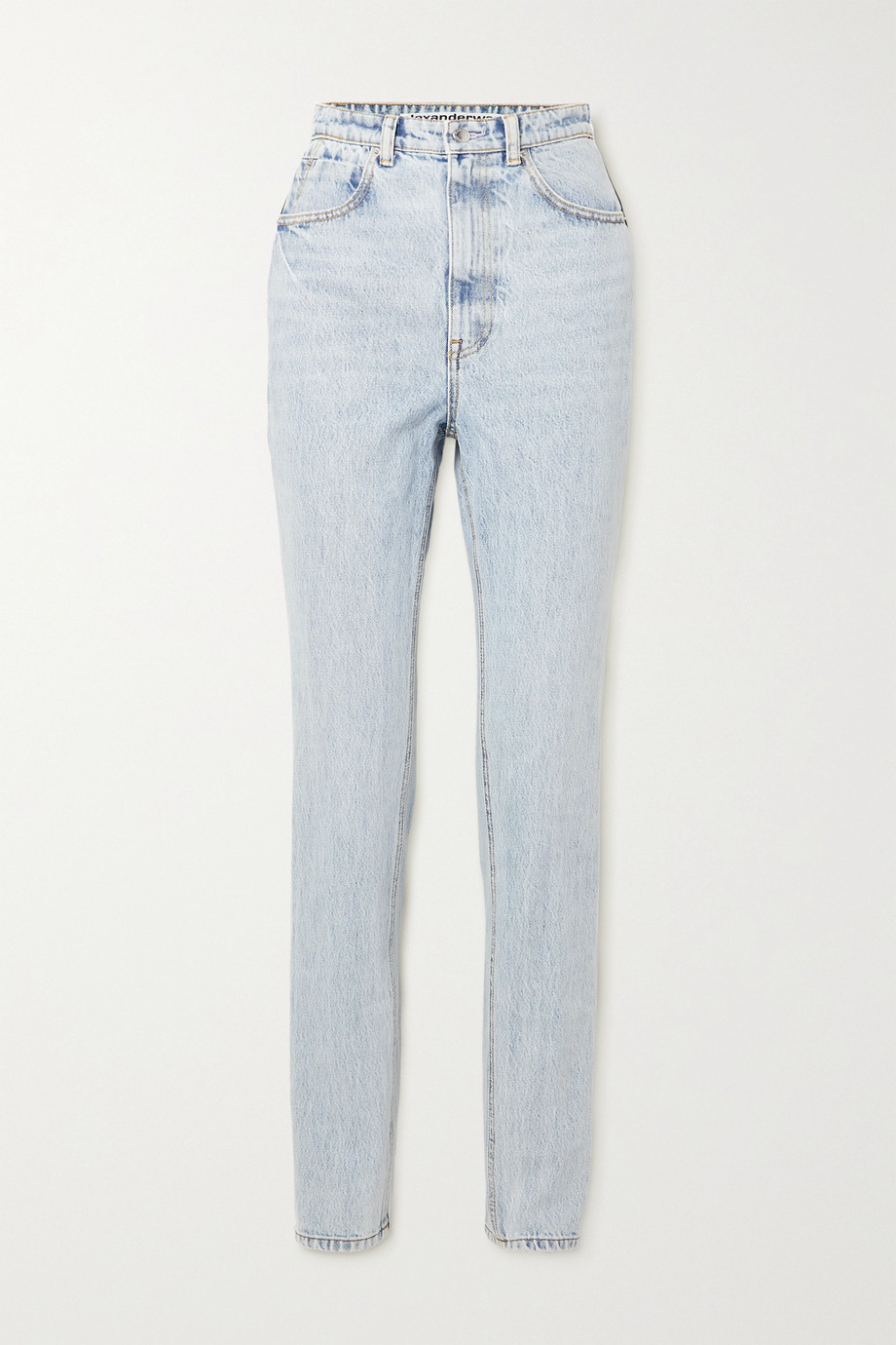 Alexander Wang Satin-trimmed high-rise tapered jeans