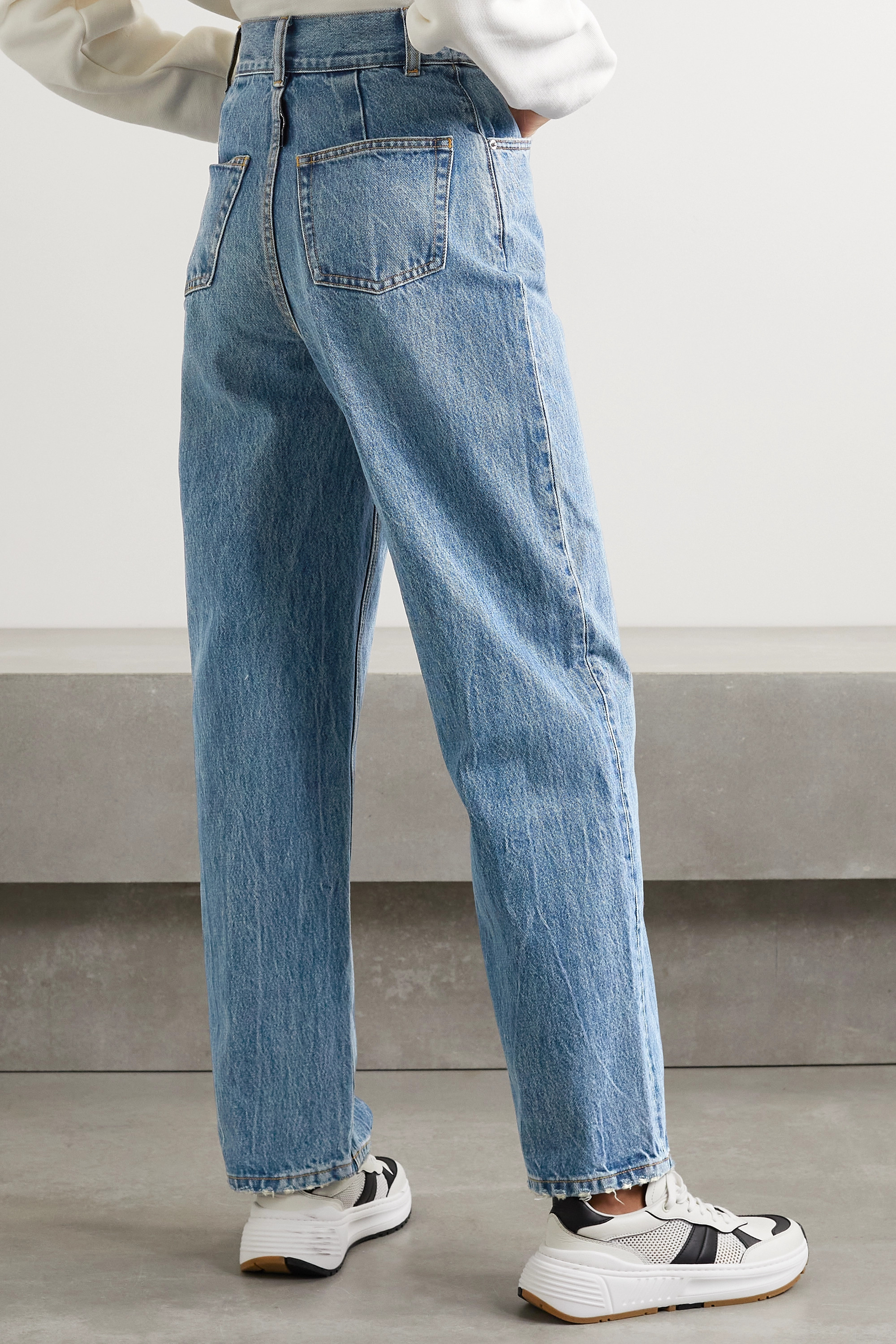 Alexander Wang Belted distressed high-rise straight-leg jeans