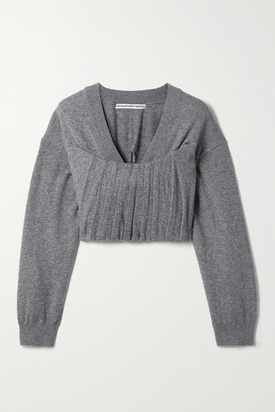 Alexander Wang Cropped pintucked knitted sweater