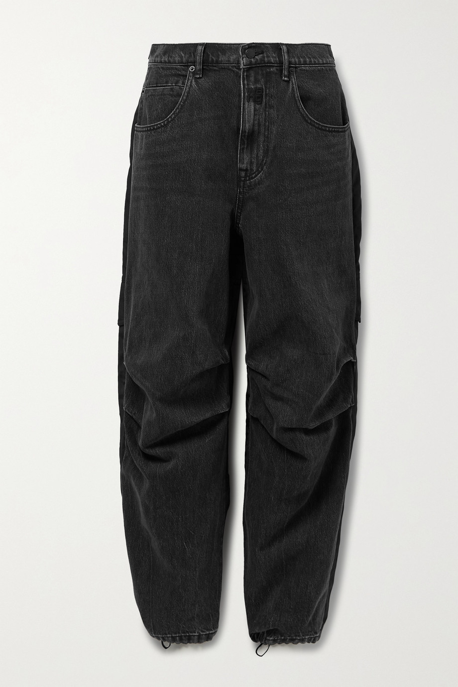 Alexander Wang Paneled denim and shell boyfriend jeans