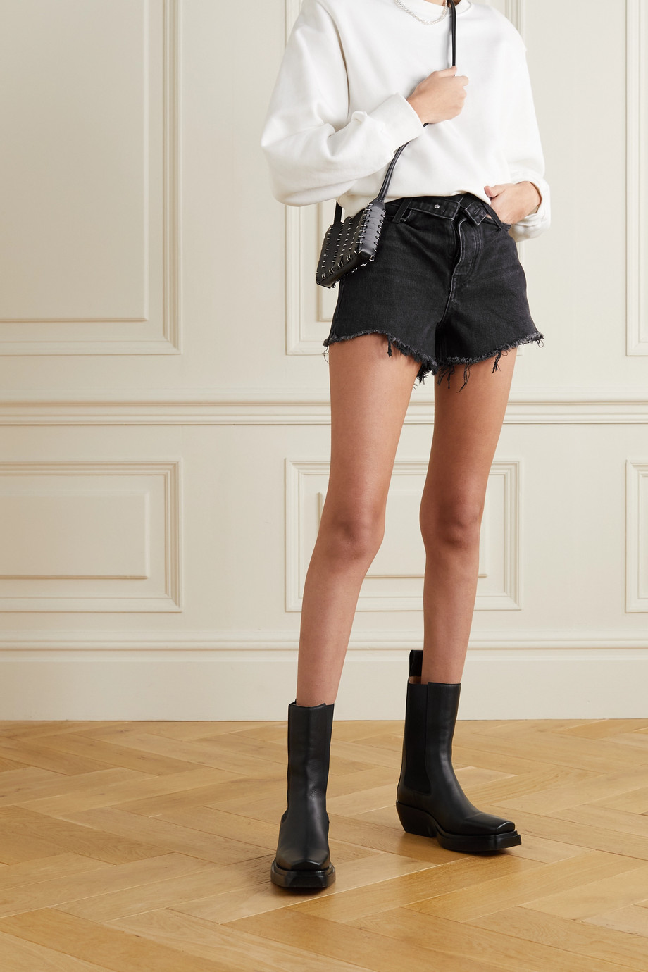 Alexander Wang Bite distressed denim shorts