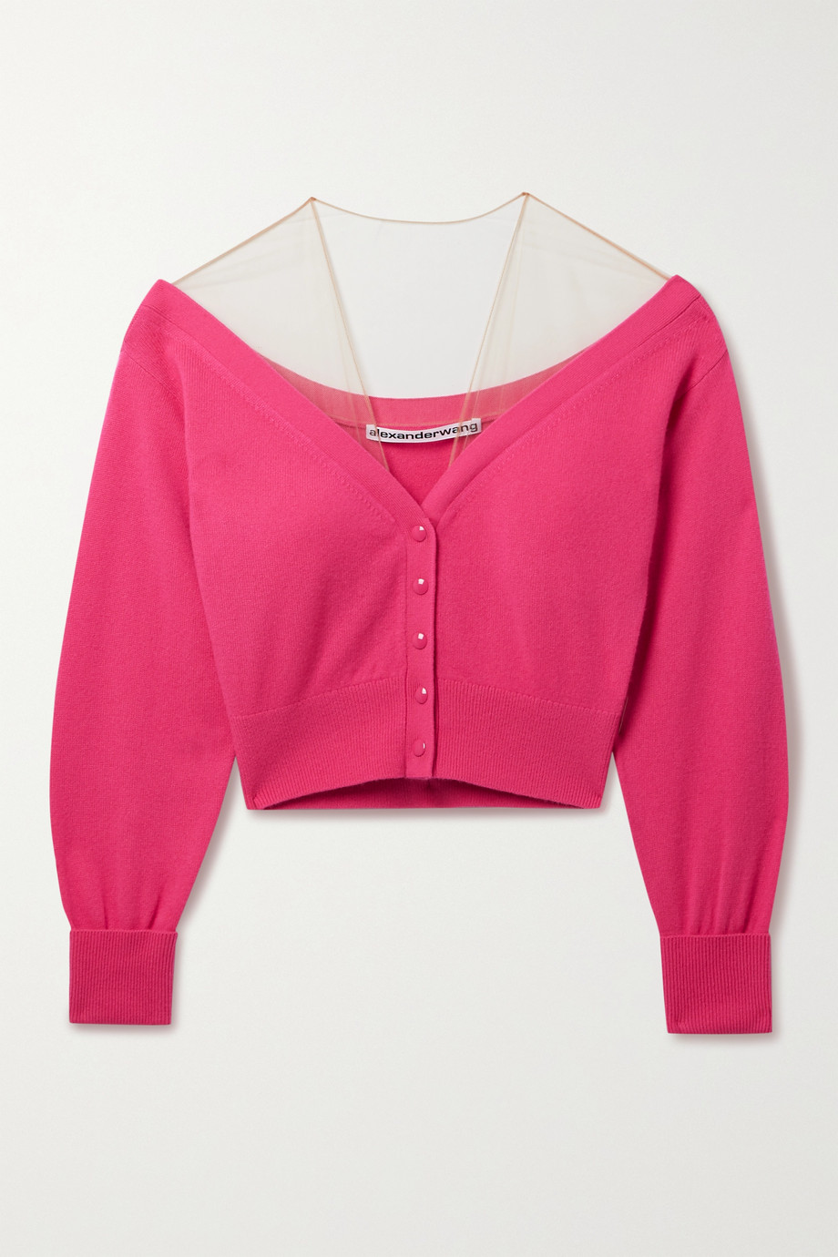 Alexander Wang Cropped mesh-trimmed wool-blend cardigan