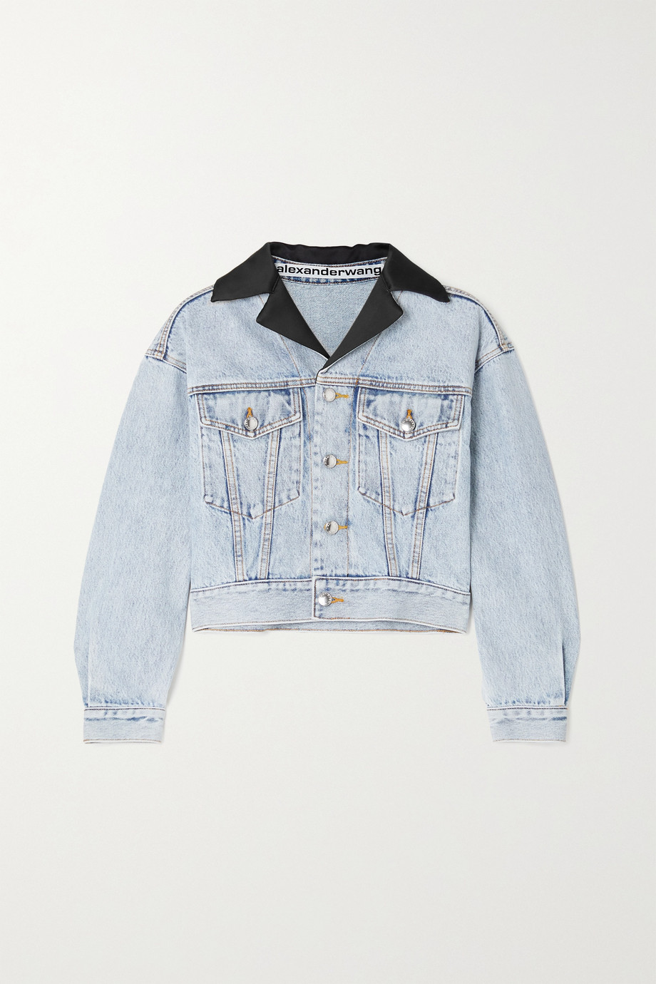 Alexander Wang Cropped satin-trimmed denim jacket