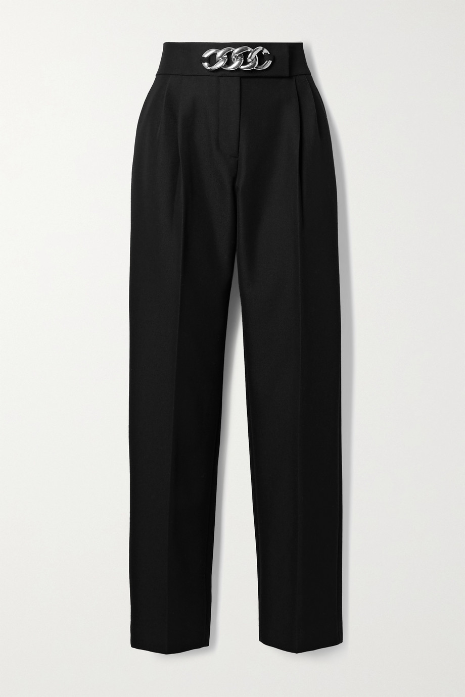 Alexander Wang Chain-embellished pleated wool-blend twill straight-leg pants