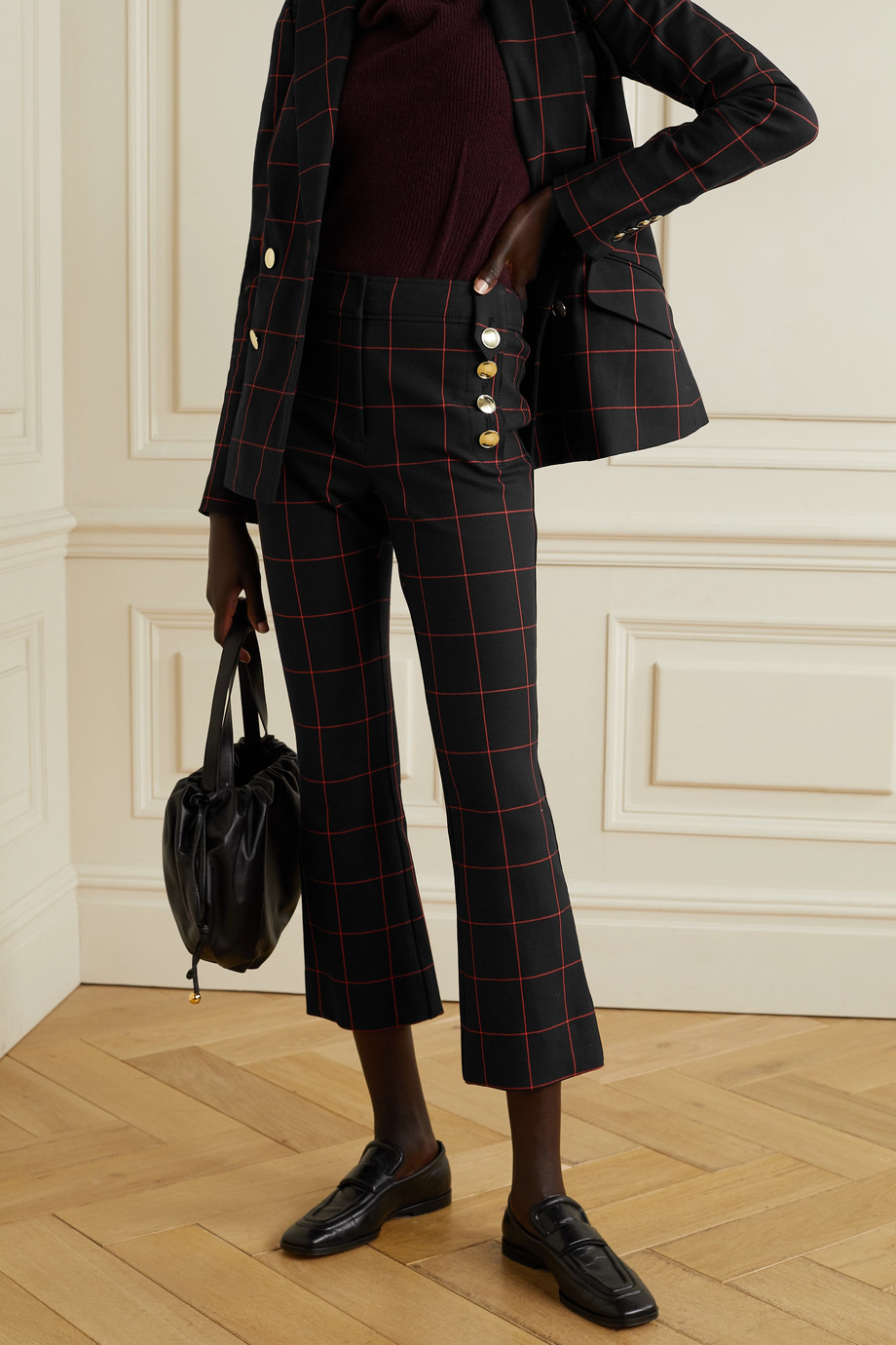 Derek Lam 10 Crosby Robertson cropped button-embellished checked stretch-cotton twill flared pants
