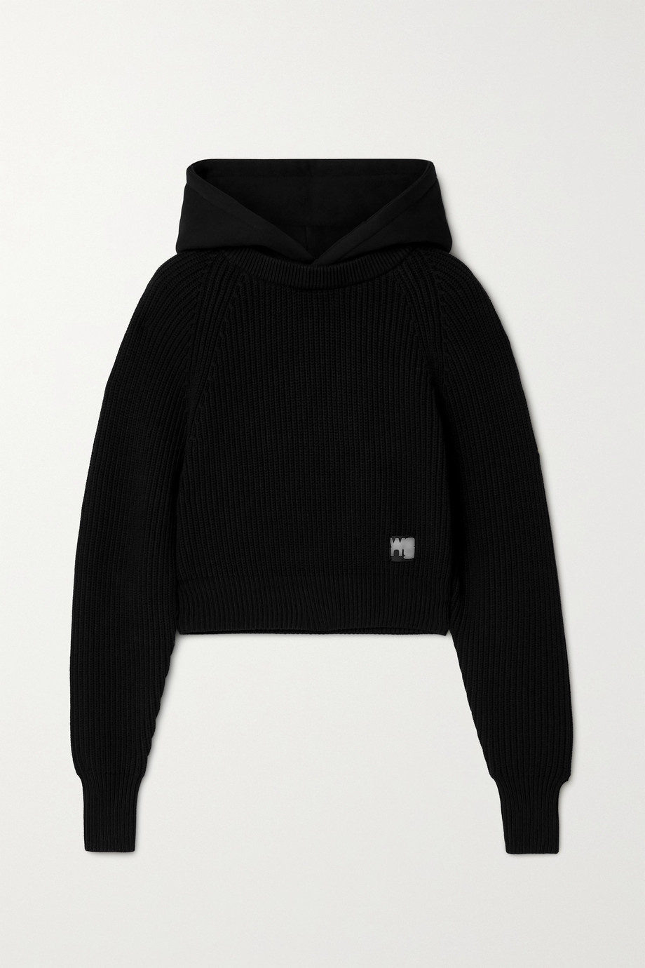 alexanderwang.t Hooded jersey and ribbed cotton-blend sweater