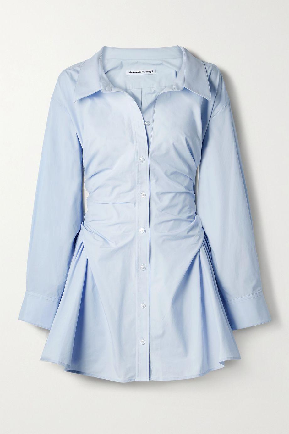 alexanderwang.t Gathered cotton-poplin mini shirt dress