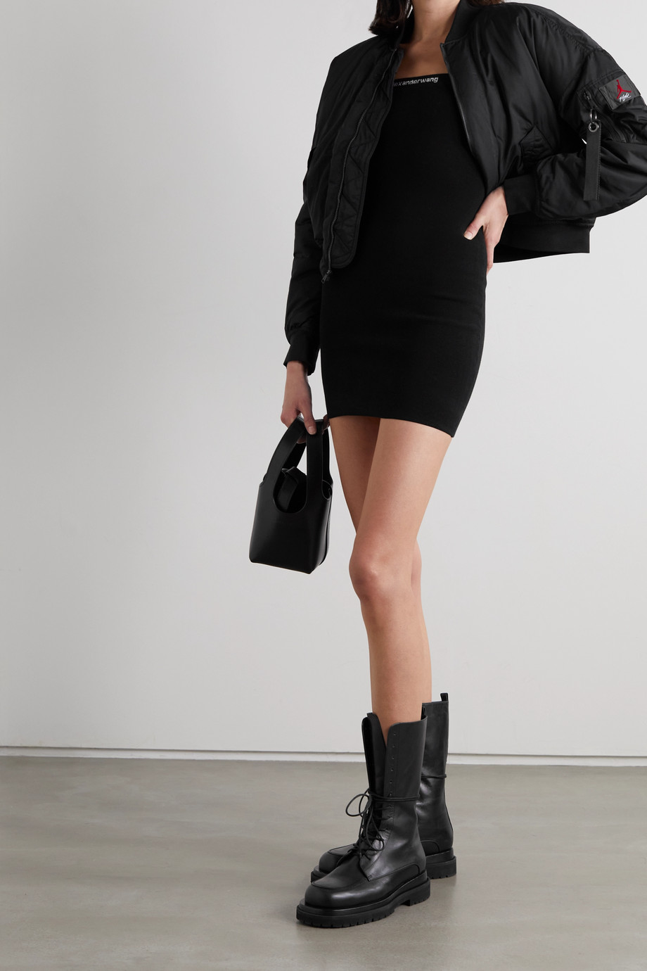 alexanderwang.t Intarsia stretch-knit mini dress