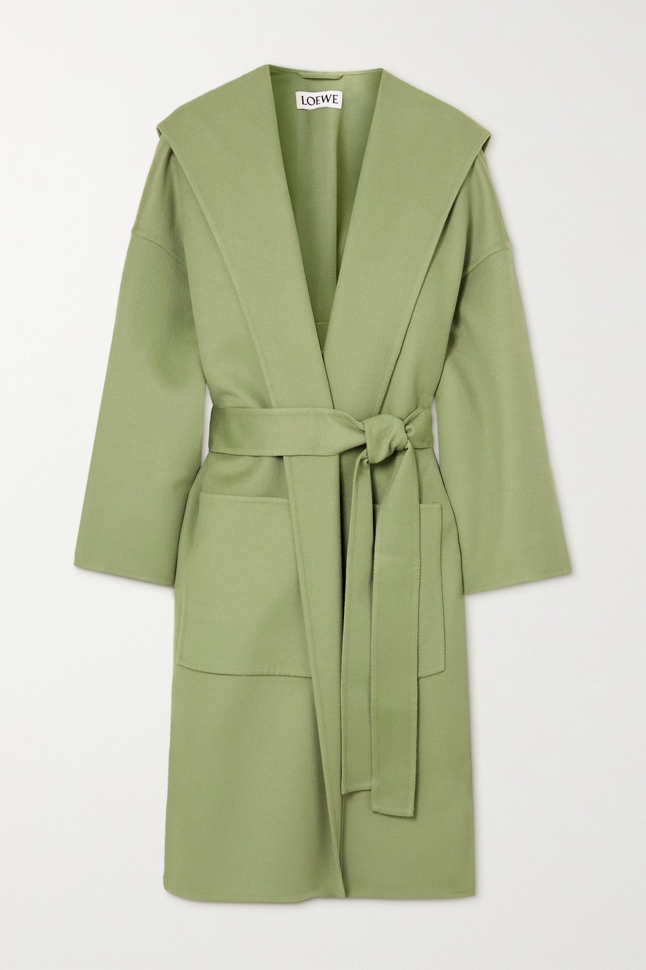 Loewe Hooded belted wool and cashmere-blend coat