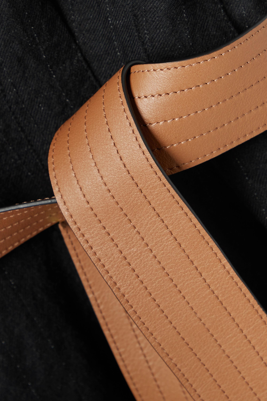 Loewe Leather-trimmed belted metallic wool-blend twill midi dress