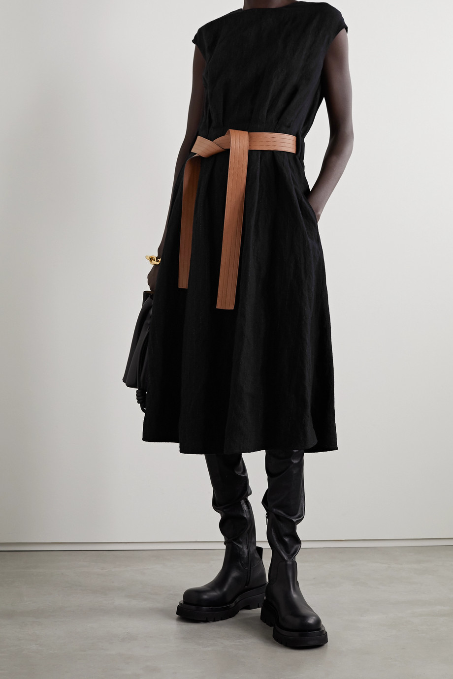 Loewe Leather-trimmed belted metallic wool-blend twill midi dress