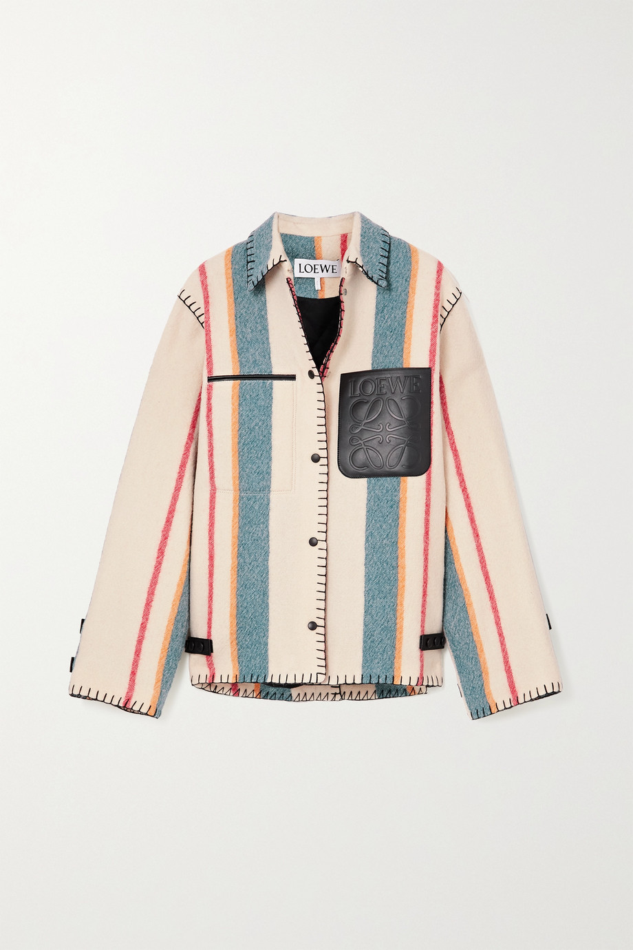 Loewe Leather-trimmed striped wool jacket