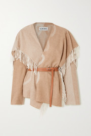 Loewe Belted fringed intarsia wool and cashmere-blend jacket