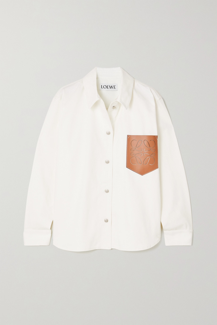 Loewe Perforated leather-trimmed denim shirt