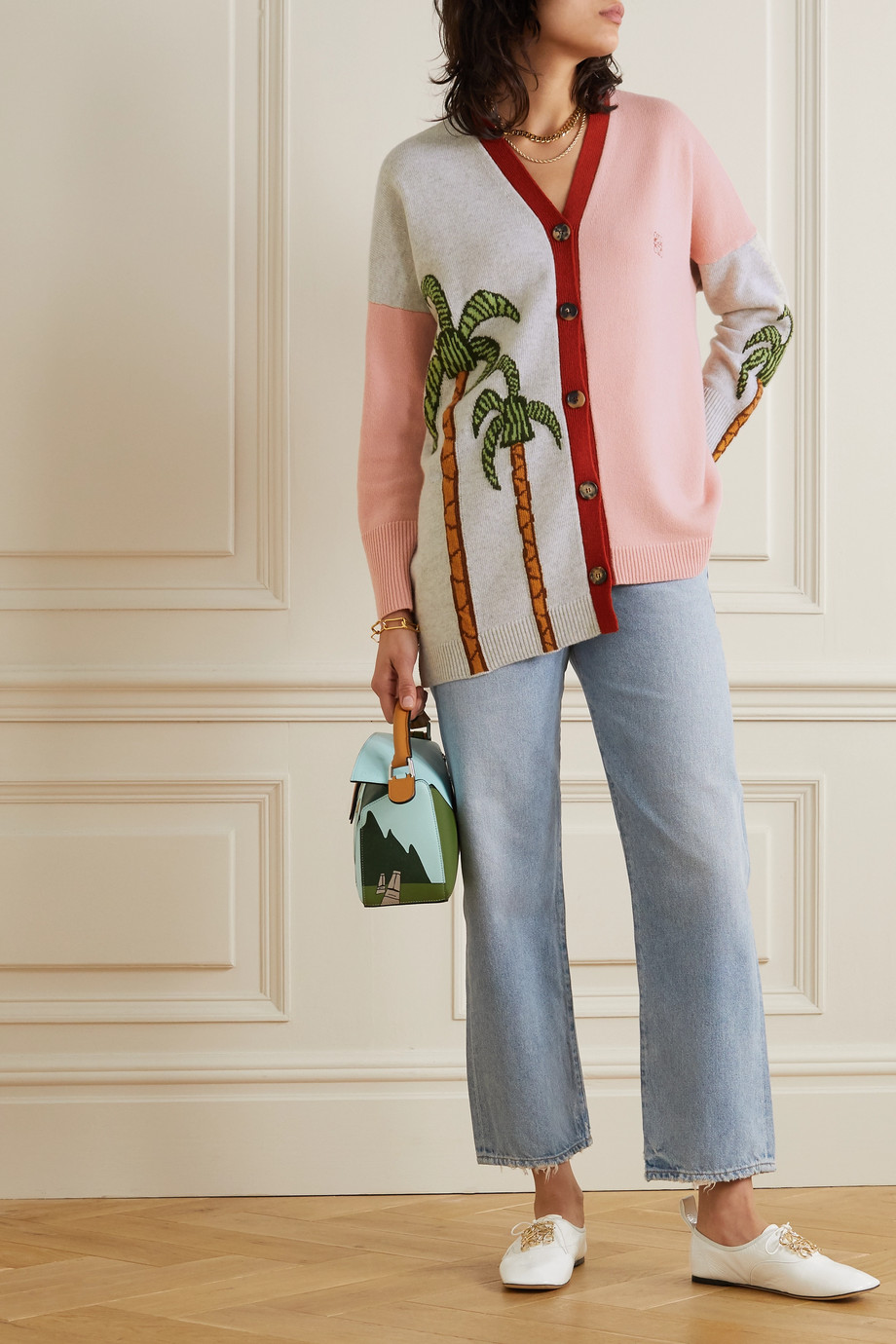 Loewe + Ken Price La Palme asymmetric intarsia wool cardigan