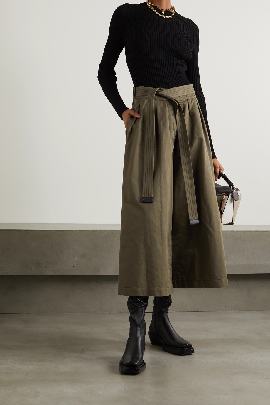 Loewe Belted cropped cotton and linen-blend wide-leg pants