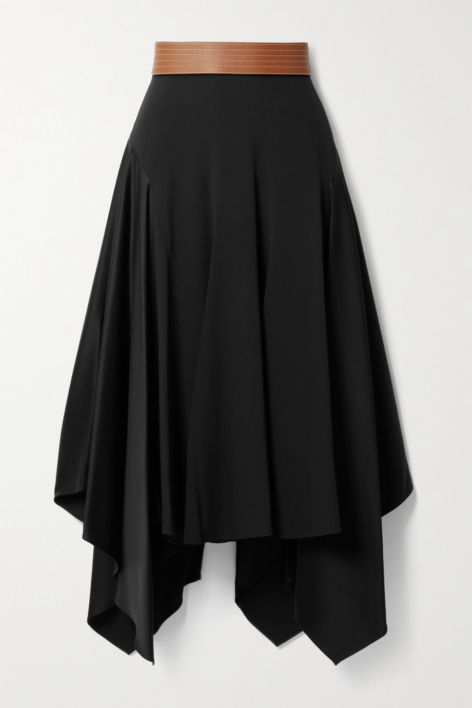 Loewe Asymmetric leather-trimmed crepe and satin midi skirt